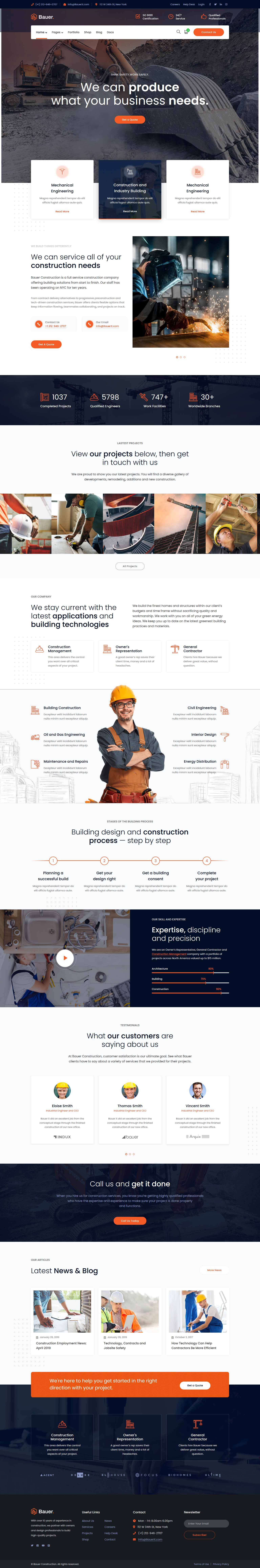 разработка и создание сайтов для строительной компании, промышленного производства