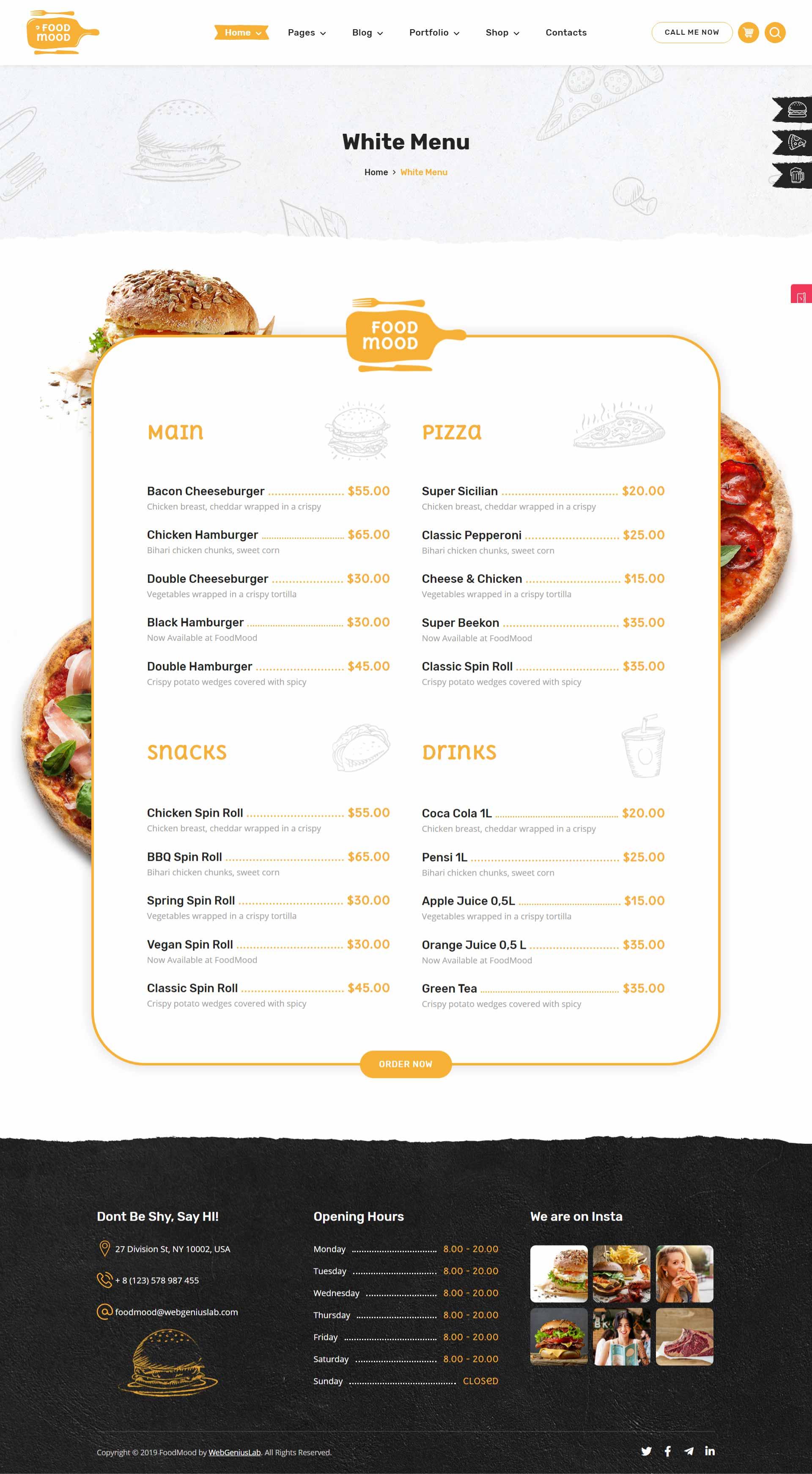 разработка и создание сайтов ресторанов и кафе